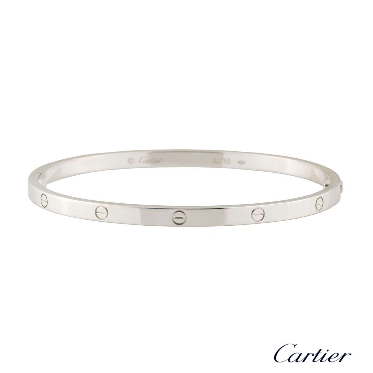 Cartier White Gold Love Bracelet SM Size 19 B6047419